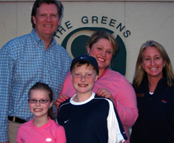 The Harvey Family with The Greens tennis director Suzanne LaBelle